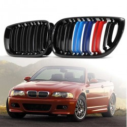 Front bumper grill - 2 line slat M color 3 colors for BMW 3 Series E46 4-door 2 pcs