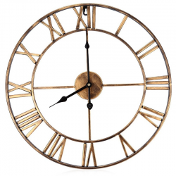 Iron decorative wall clock with roman numerals