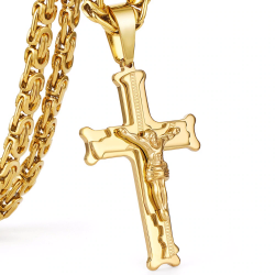 Gold stainless steel necklace with cross