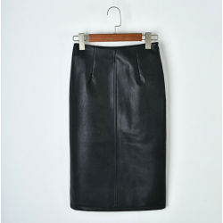 Elegant leather midi skirt