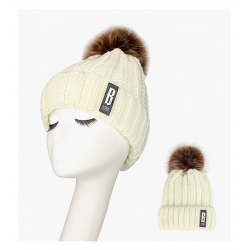 Warm winter wool hat with pom pom