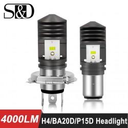 4000LM BA20D LED H6 P15D HS1 H4 Led Motorcycle Headlight Bulbs CSP Chips Motorbike hilo far light M