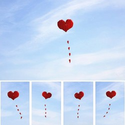 Heart shaped nylon kite