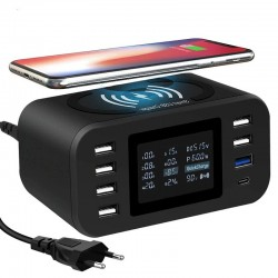 Qi wireless charger - quick charge 3.0 - 60W - 8-ports USB - charging station