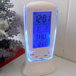 LED - blue luminous digital clock - electronic calendar - thermometer - 7-sounds alarm clock