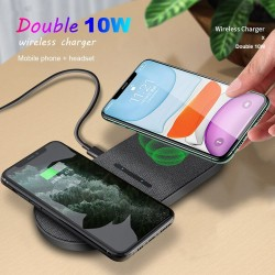2 in 1 Qi Wireless Charger - Samsung S20 - S10 - Double Fast Charging Pad