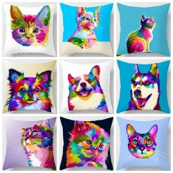 Colorful animals - cat - dog - zebra - giraffe - lion - cushion cover case - 45 * 45 cm