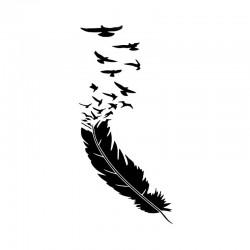 Feather with flying birds - vinyl car sticker