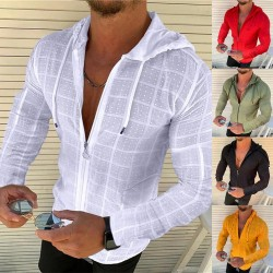 Long sleeve hoodie - with zipper - slim