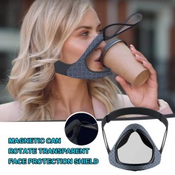 Transparent face / mouth cover - protective mask with openable mouth visor