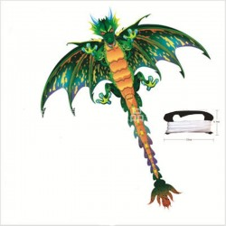 3D green dragon - kite - with 100m line