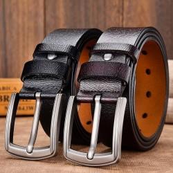 Genuine leather belt - vintage metal pin buckle