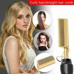 2 in 1 - multifunction hair straightener / curler / comb - wet / dry hair