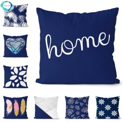 Navy blue geometric - cushion cover - polyester - 45 * 45cm