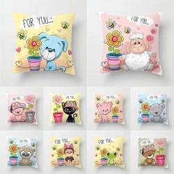 Bear - frog - monkey - cushion cover - cotton - 45 * 45cm