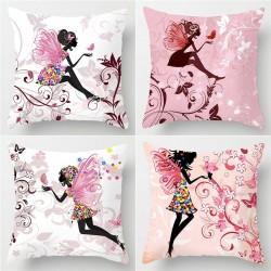 Pink flower fairy - cushion cover - cotton - 45 * 45cm