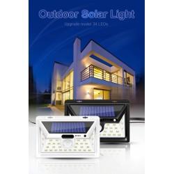LED solar light - outdoor - motion sensor - wall - waterproof - 34 LEDS