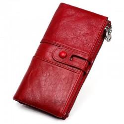 Leather zipper design long purse wallet for women