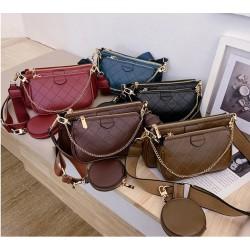 Leather handbag - crossbody - small clutch bag - detachable design - 3 pieces set