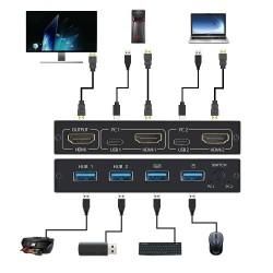Splitter switch KVM 4K - HDMI - USB - monitor condiviso - con 2 porte