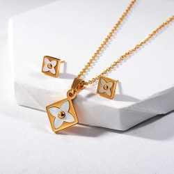 Jewellery set - necklace & earrings - square pendant - flowers with white shell