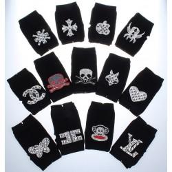 Knitted gloves - fingerless - rivets - diamonds - skull