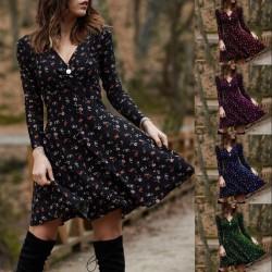 Mini loose dress - long sleeve - v-neck - vintage floral print