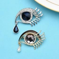 Crystal eye with a crystal waterdrop - brooch