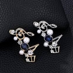 Crystal musical notes - elegant brooch