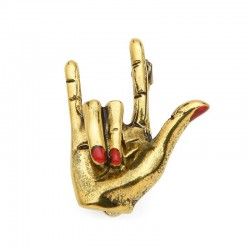 """Hand with """"Love"""" gesture - red nails - punk brooch"""