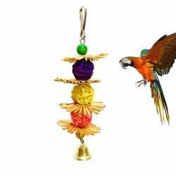 Hanging toy for birds - with natural straw flowers