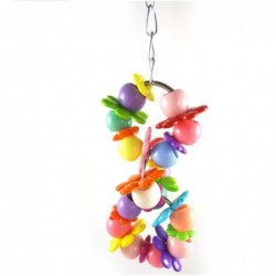 Birds hanging toy - colorful cage decoration - with flowers / beads - 2 pieces