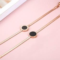 Rose gold bracelet - black round pendant with Roman numerals