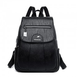 Leather backpack - with hand strap / zippers