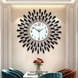 Modern wall clock - sun shape - with crystal decoration - 38 * 38cm