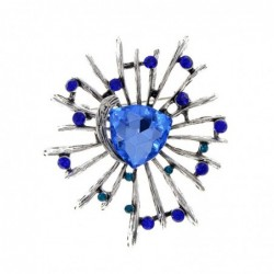 Stylish flower brooch - with glass crystals