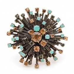 Vintage round flower - brooch with crystals