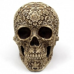 Skull statue - with floral carving - Halloween decoration