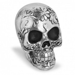 Skull with floral design - silver plated - Halloween decoration