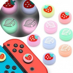 Thumb stick grip cap - joystick cover - luminous - for Nintendo Switch Lite Joy-Con - fruits / leaves print