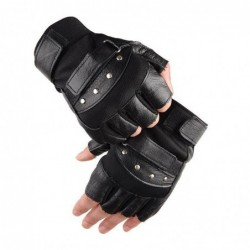 Military leather gloves - with rivets - half finger design - for gym / fitness