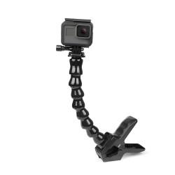 Supporto a morsetto flessibile Jaws - con collo d'oca regolabile flessibile - per GoPro Hero - Sjcam Yi 4K