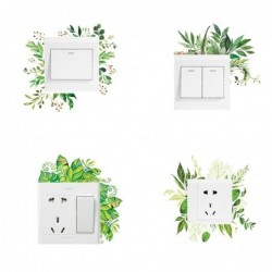 Green leaves - square wall sticker - light switch decoration