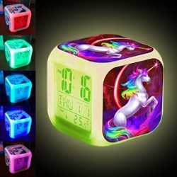 Cube shaped clock with unicorn - digital - LED - color changing