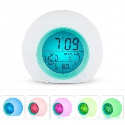Round LED alarm clock - colorful glowing backlight - thermometer - calendar - date
