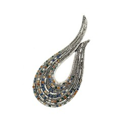 U-shaped brooch - with crystal decorations