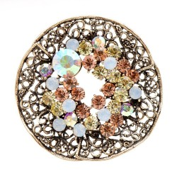 Vintage round brooch - with crystals