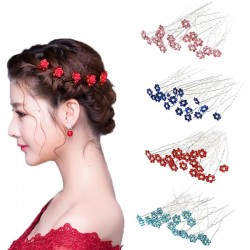 Wedding hair pins - with crystal flowers - 40 pieces