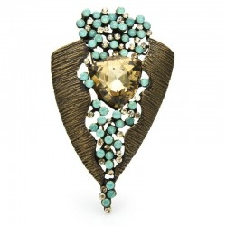 Vintage geometric brooch - with crystals