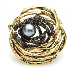 Bird nest with pearl - crystal brooch